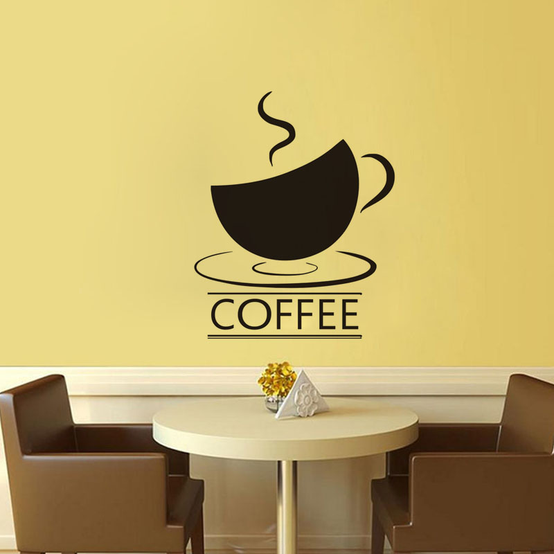 A Cup Of Coffee Stickers For Wall Decoration Vinyl Adhesive Wall ...