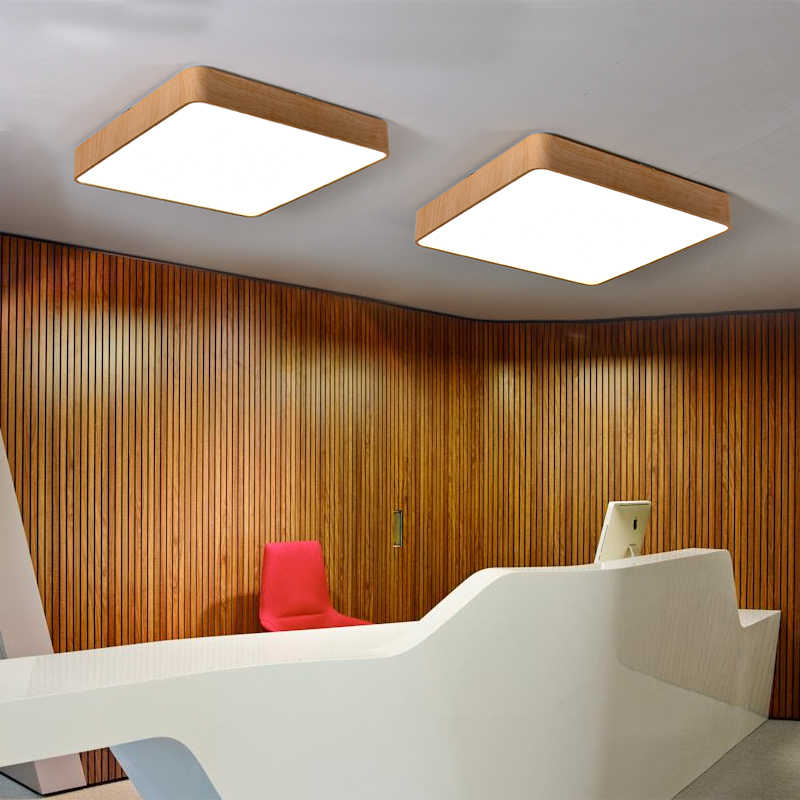 Деревянный цвет/черный/белый опционально, квадратные потолочные светильники спальни потолочный светильник. Диаметр 35 см 25 Вт, AC90-265V,
