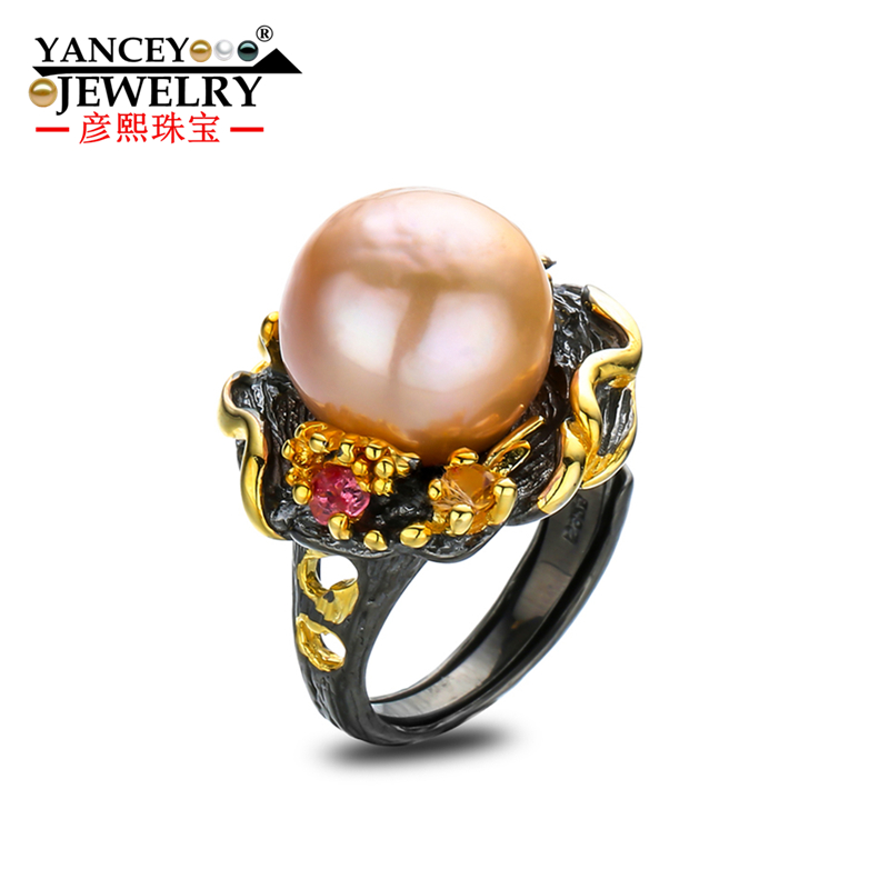 Original design irregular Big pink freshwater pearl ring s925 sterling silver Baroque ring woman, exaggerated retro temperament brand jewelry creative new flower can turn cactus exaggerated ring exaggerated fashion cute temperament ring