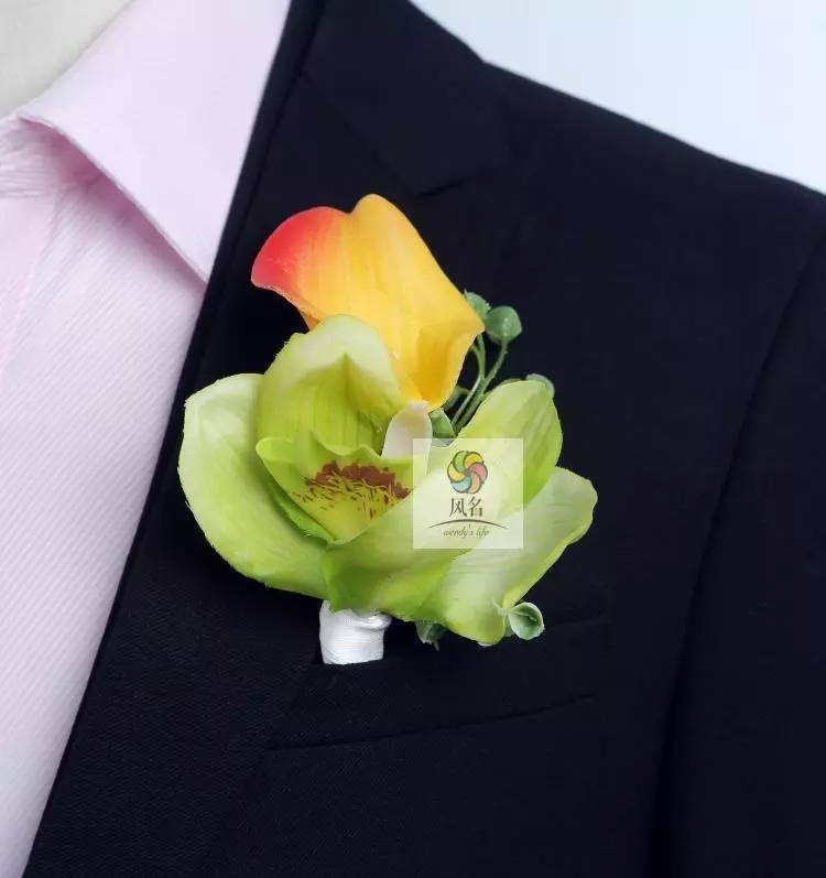 DIY calla lilies Corsage Wrist Rose Phalaenopsis Flowers Grooms men Boutonniere pin brooch Wedding party decor 4 pcs/ lot C14