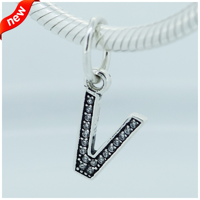 Fits for Pandora Bracelets Character V Charms 100% 925 Sterling Silver Jewelry Beads Free Shipping