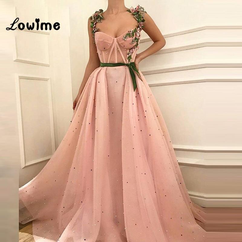 2018 robe de soirée arabe longues robes de bal 3D perles de fleur perlée Sexy robe de soirée rose femmes robe avec broderie florale
