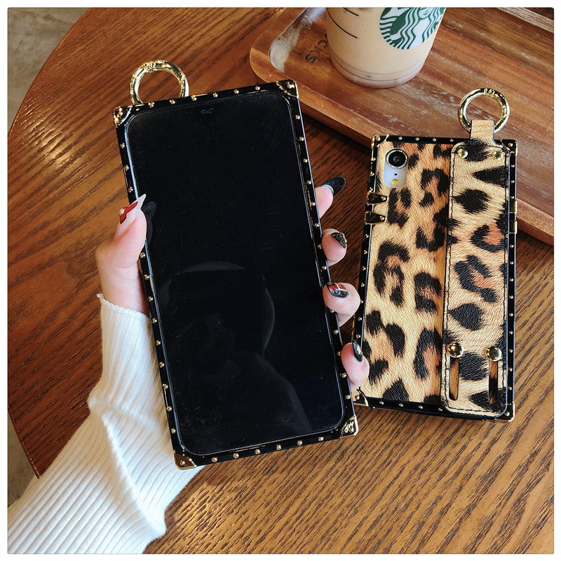 Luxury brand Square Leopard print rose flower case for iphone 7 8 6 6s plus girl women phone case for iphone X XS Max Xr cover (7)