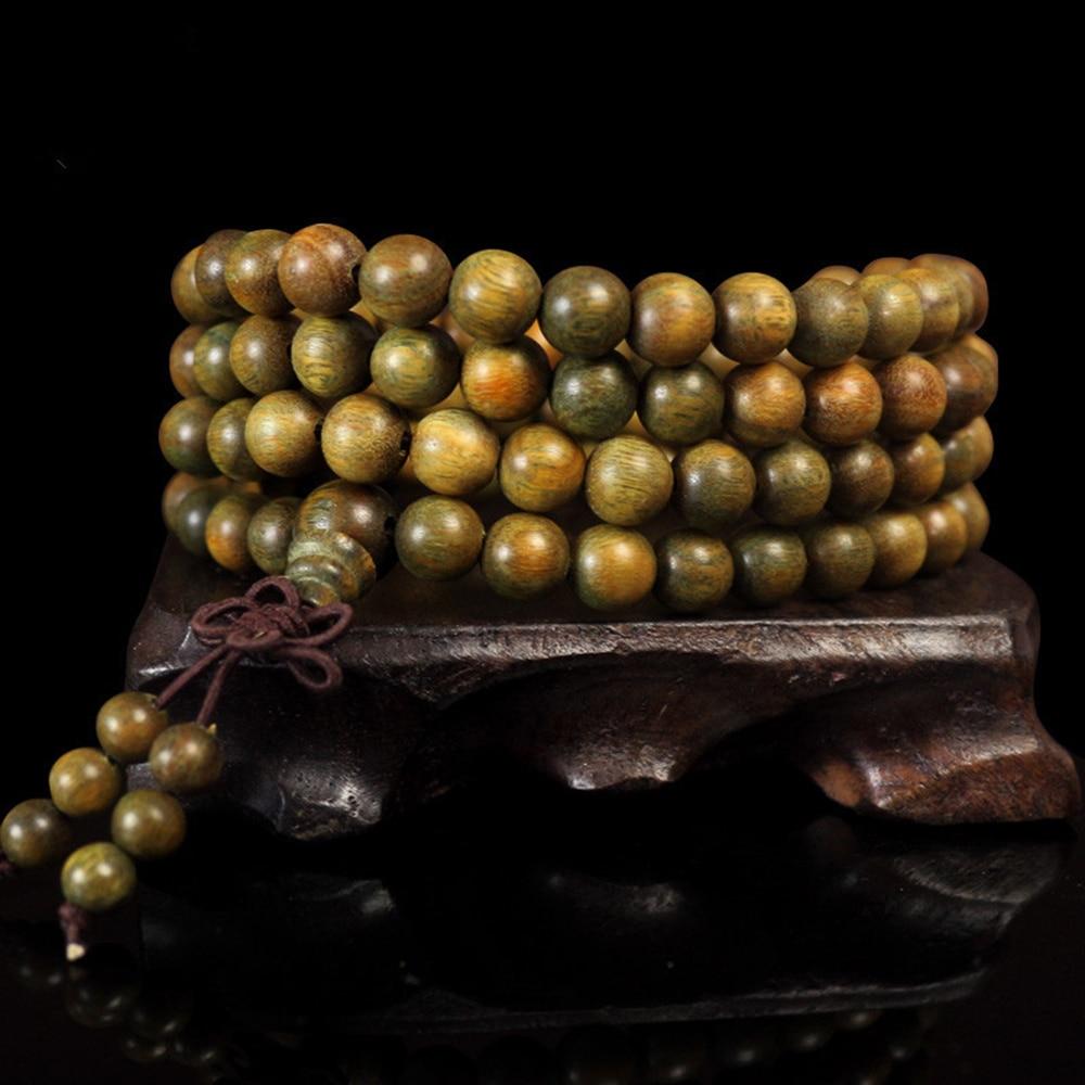 108*8mm Tibetischen Buddhistischen Für Männer Natürliche Grüne Sandelholz Gebet Malas Mode Holz Perlen Halskette Armbänder S0m68 KöStlich Im Geschmack