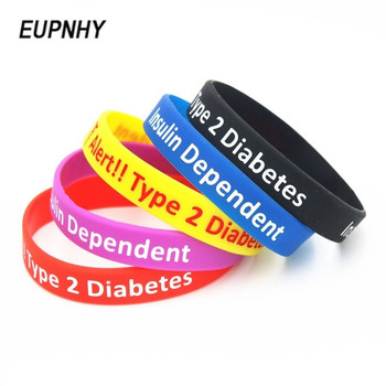 Medical Alert ID Type 2 Diabetes Insulin Dependent Silicone Wristband Bracelets 1