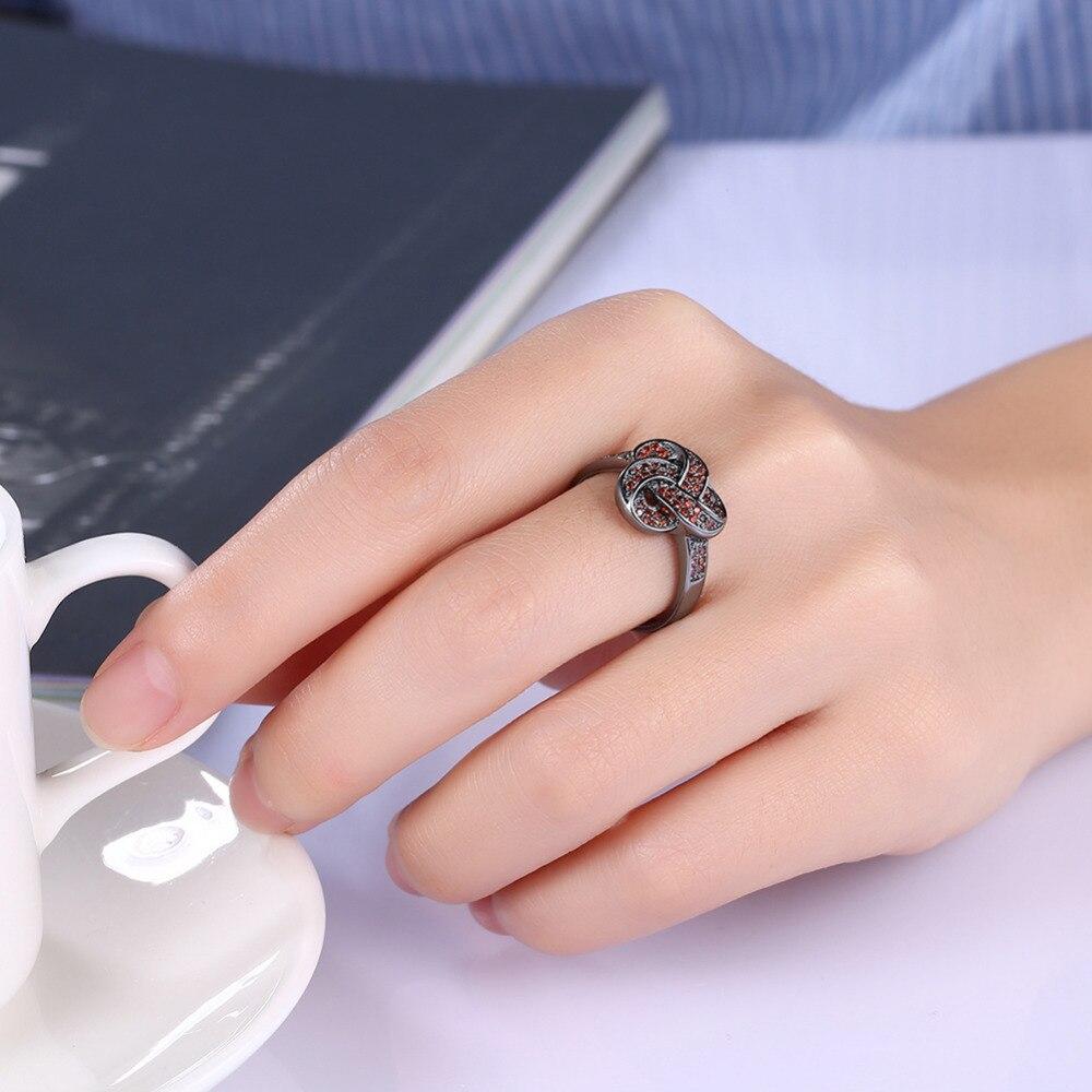 Elegant Rings For Women Blue Red Micro Cubic Zirconia Black Gun ...