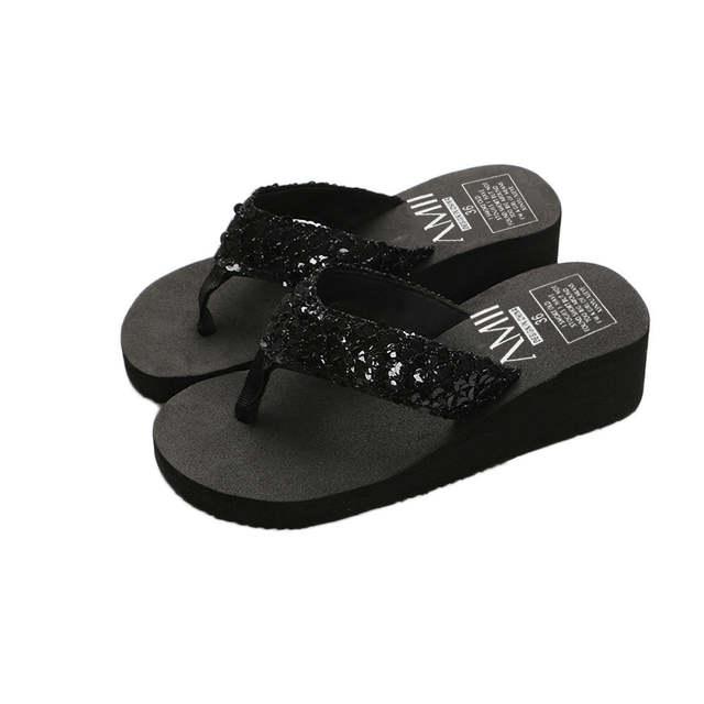0bc8e574e5 SAGACE shoes Women Summer Sequins Anti-Slip Sandals Slipper Indoor &  Outdoor Flip-flops 2019 Sandal NEW Beach summer Sandals