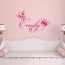 все цены на Personalized Girl Name Wall Sticker Beauty Crown Girls Baby Room Decoration Custom Name Poster Mural Bedroom Decals Decor W41 онлайн