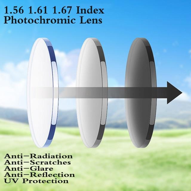 3dff93c199 1.56 1.61 1.67 Index Aspheric Photochromic Prescription Lens Myopia  Presbyopia CR-39 Lens Hard Glasses Lens 2 PCS PS0002