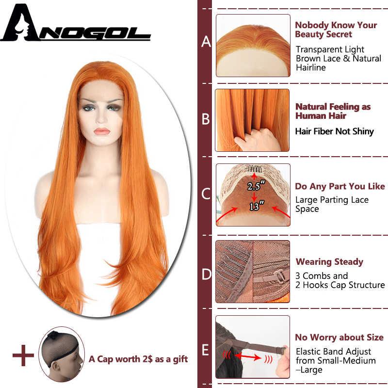 Anogol Glueless Hohe Temperatur Faser Natürliche Haar Perücken Layered Lange Lose Welle Orange Synthetische Spitze Vorne Perücke Für Frauen