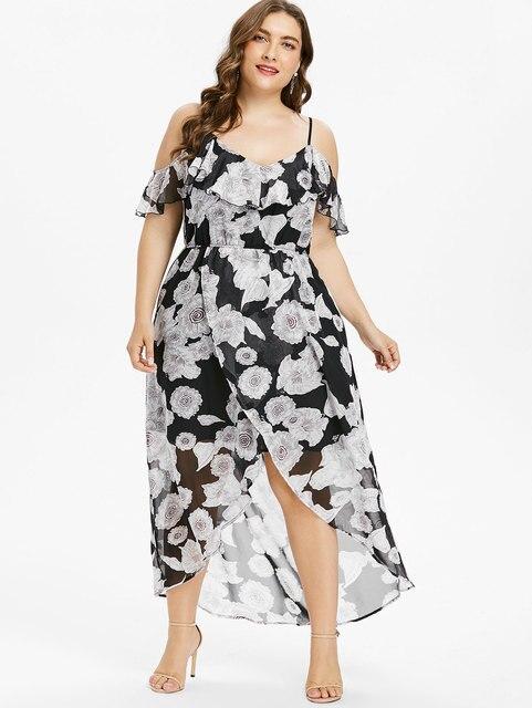 Aliexpress.com : Buy Gamiss Plus Size 5XL Floral Cold Shoulder Maxi ...