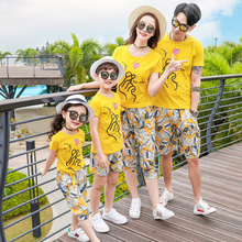 love family look mother daughter father son matching outfits mommy and me clothes mama baby dresses T shirt+shorts clothing sets family set striped mother daughter dresses father son t shirt mommy and me clothes matching outfits look parent child clothing