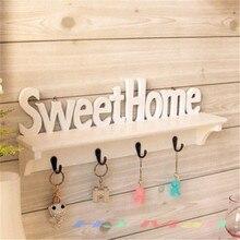 47*8*16.5cm Sweet Home Shelves Plastic Wall Hanger 4 Hooks Storage Shelf Hanging Mounted Rack Holder