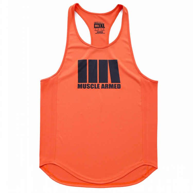 새로운 패션 빠른 건조 민소매 셔츠 탱크 탑 남성 피트니스 셔츠 남성 싱글 보디 빌딩 운동 체육관 조끼 휘트니스 남자