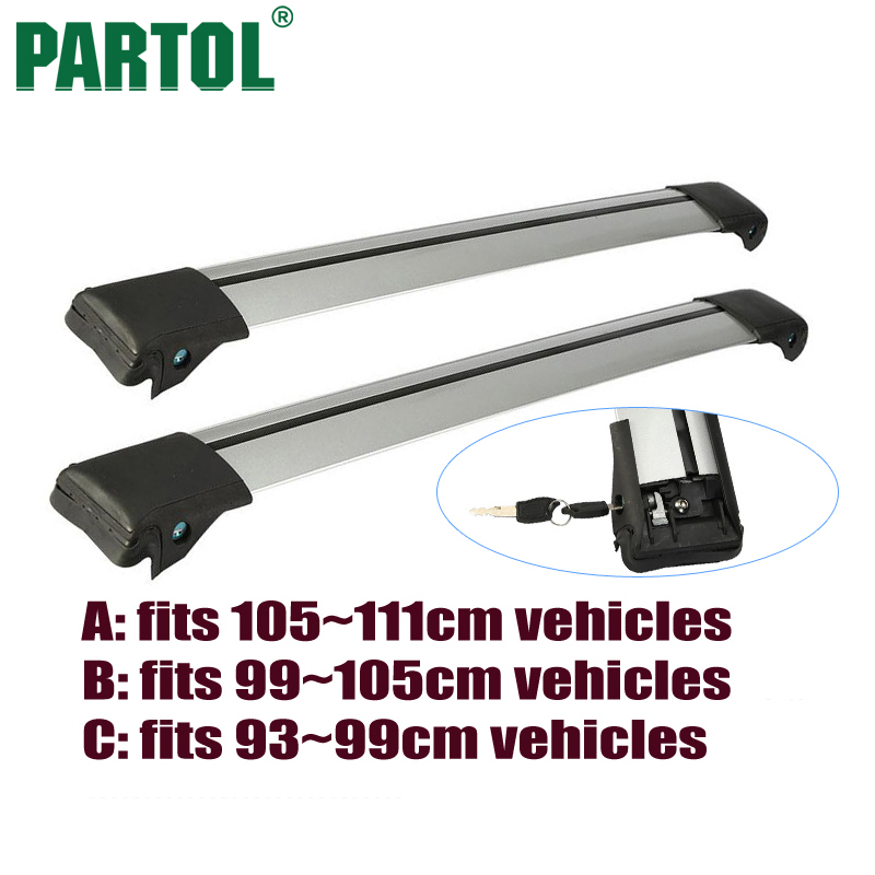 Partol 2x A B C Size <font><b>Car</b></font> Roof Rack Cross Bars Anti-theft Lock System Snowboard Carrier Bike Rack For 93-99cm 99-105cm 105~111cm