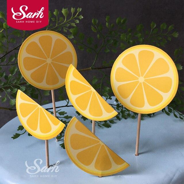 6 Pzset Estate Limone Arancia Torta Scheda Inserita Con
