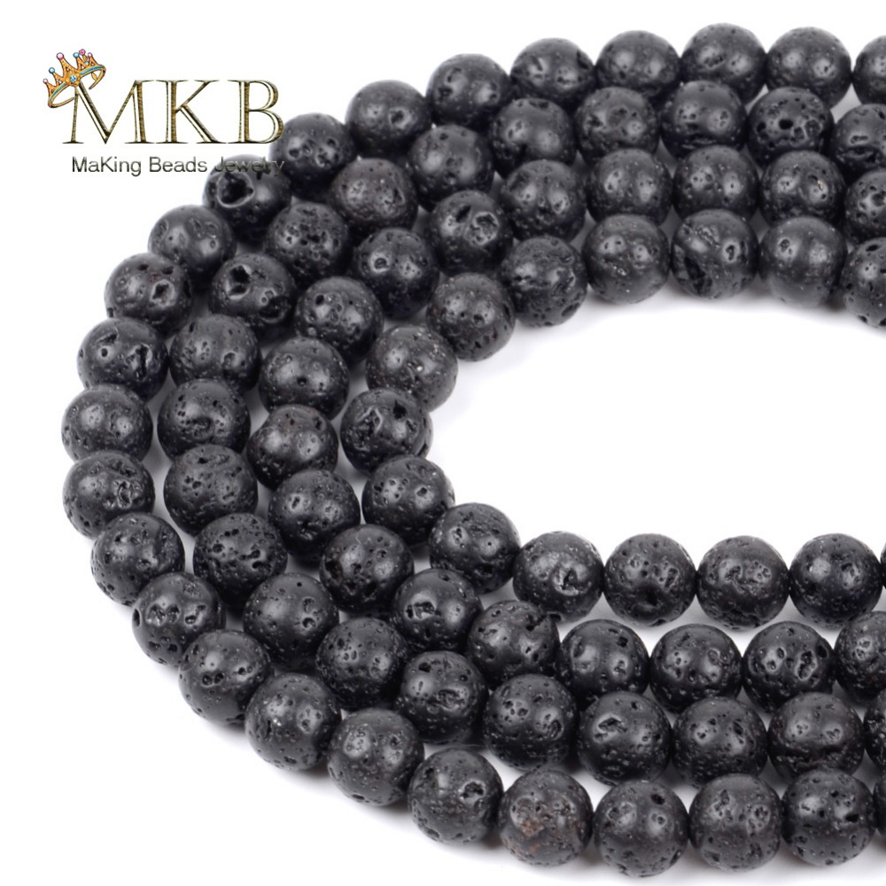 4 6 8 10 12 mm Natural Volcanic Stone Space Loose Beads For Bracelet Necklace