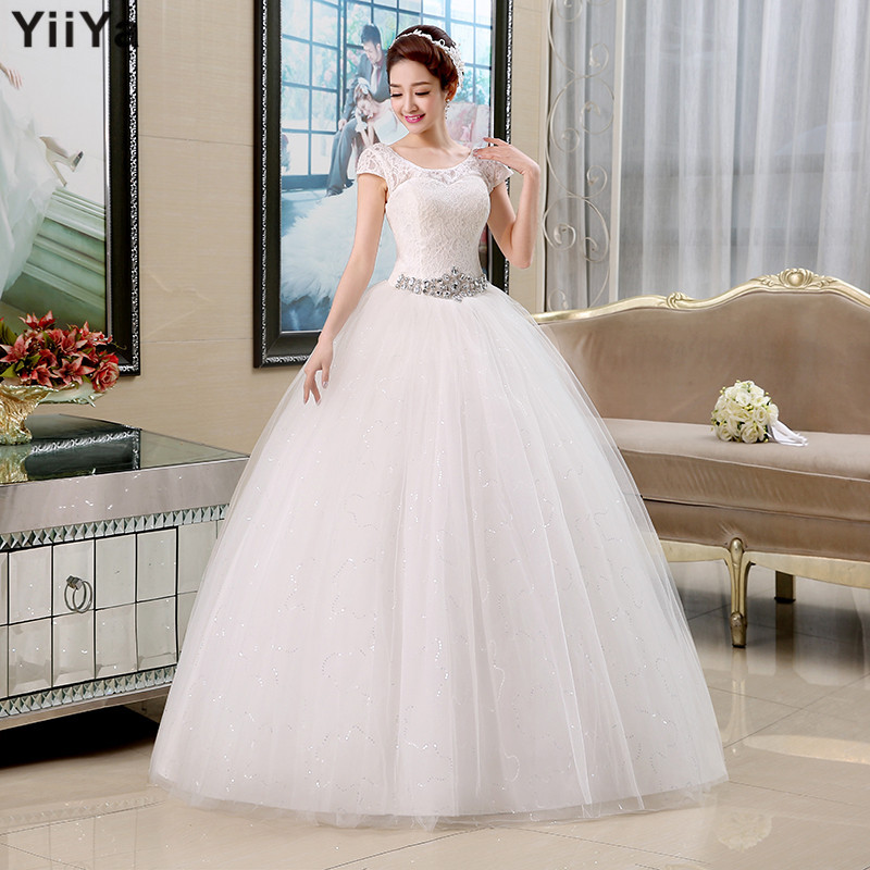 Free shipping 2015 new arrival cheap wedding dresses lace white