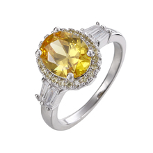 Hd Shooting Fashion Big Yellow Crystal Cubic Zircon Silver Luxury Rings For Women Wedding Party Rings Jewelry