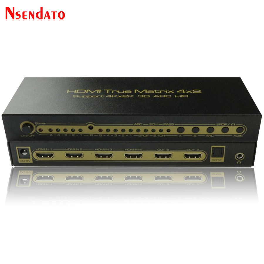 4K*2K HDMI True Matrix 4X2 HDMI 1.4 Switch Splitter For LPCM7.1 DTS Dolby ARC SPDIF 4 In 2 Out HDMI 2CH 5.1CH Audio Extractor digital 4 in 2 out hdmi audio extractor to toslink hdmi spdif arc audio 3d 4k 60hz 1080p 5 1ch 2 0ch for pc hdtv 011m1