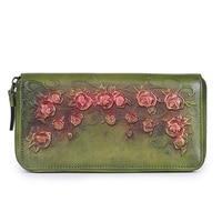 2018 Fashion Women Genuine Leather Bag Cowhide Flower Vintage Wallet Card Money Holder Clutch Purse Long Burgundy Red Wallets