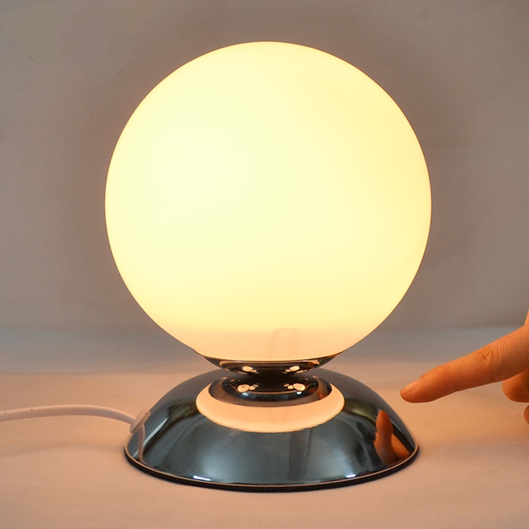Glass Round Table Lamps Bedroom Bedside Study Convenient Modern Simple  Creative White Single Head LED Table Lights Za