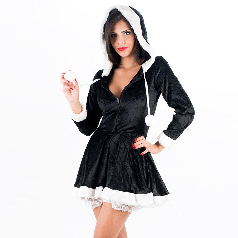 Fashion Black Long Sleeve Hooded Santa Claus Xmas Dress Ladies Sexy Santa Costume Women Mrs Christmas Party Fancy Dress Suit