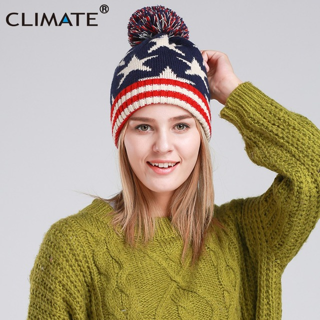 cc077b38820 CLIMATE Women Girl Winter Warm Beanie Hat USA Flag Pompon Knitted Hat  Beanie Women Cute Nice Pompon Warm Beanie For Women Girls