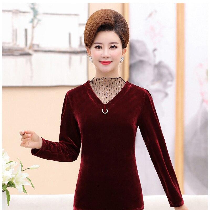 Grande taille mère chargé maille col haut or velours chemise de fond femmes automne manches longues P8646