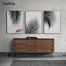 TaaWaa Black White Plant Leaves Posters and Prints Minimalist Palm Tree Wall Art Canvas Painting Picture for Living Room Decor(China)