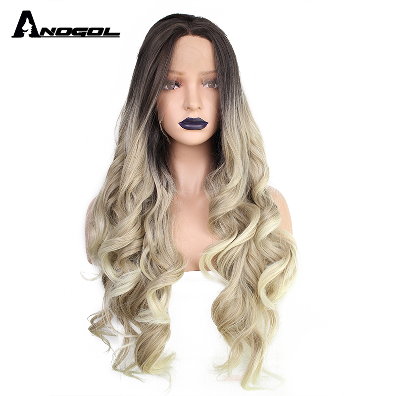 Anogol Two Tones Middle Part Drak Roots Ombre Blonde Natural Long Body Wave High Tempersture Fiber Synthetic Hair Lace Front Wig