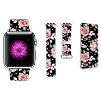 Flower Pattern Band DiY for Apple Watch 38mm 42mm 40mm 44mm Leather Bracelet for iWatch Series 2 3 4 Strap Gift for IPhone Case