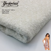 Sparkle Sequined Lace Fabric White Embroidered Fabric On Soft Tulle Mesh 132CM Wide