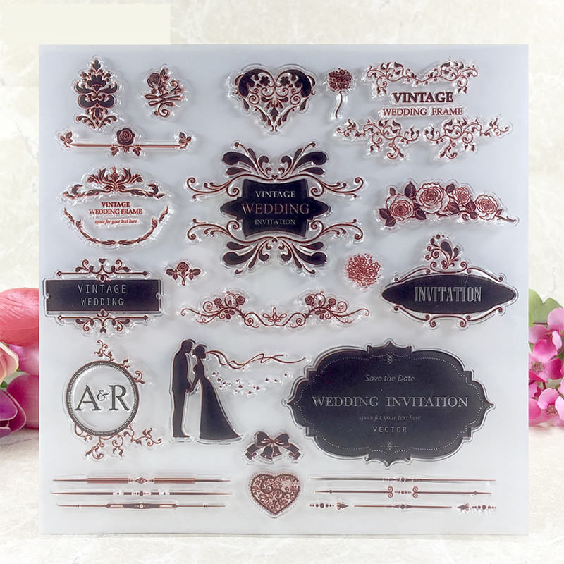 wedding  invitation Transparent Clear Silicone Stamp/Seal for DIY scrapbooking/photo album Decorative clear stamp sheets A080 flowers and lace design transparent clear silicone stamp seal for diy scrapbooking photo album wedding gift cl 083