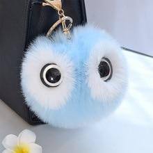 13CM Big Eyes Fluffy Rabbit Fur Ball Key Chain Cute Cartoon Panda Pompom Artificial Rabbit Fur Keychain Women Car Bag Key Ring