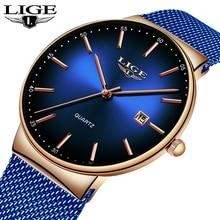 LIGE Mens Watches Top Brand Luxury Casual Fashion Watch Men Net with Waterproof wristwatch Analog Quartz Watch Relogio Masculino