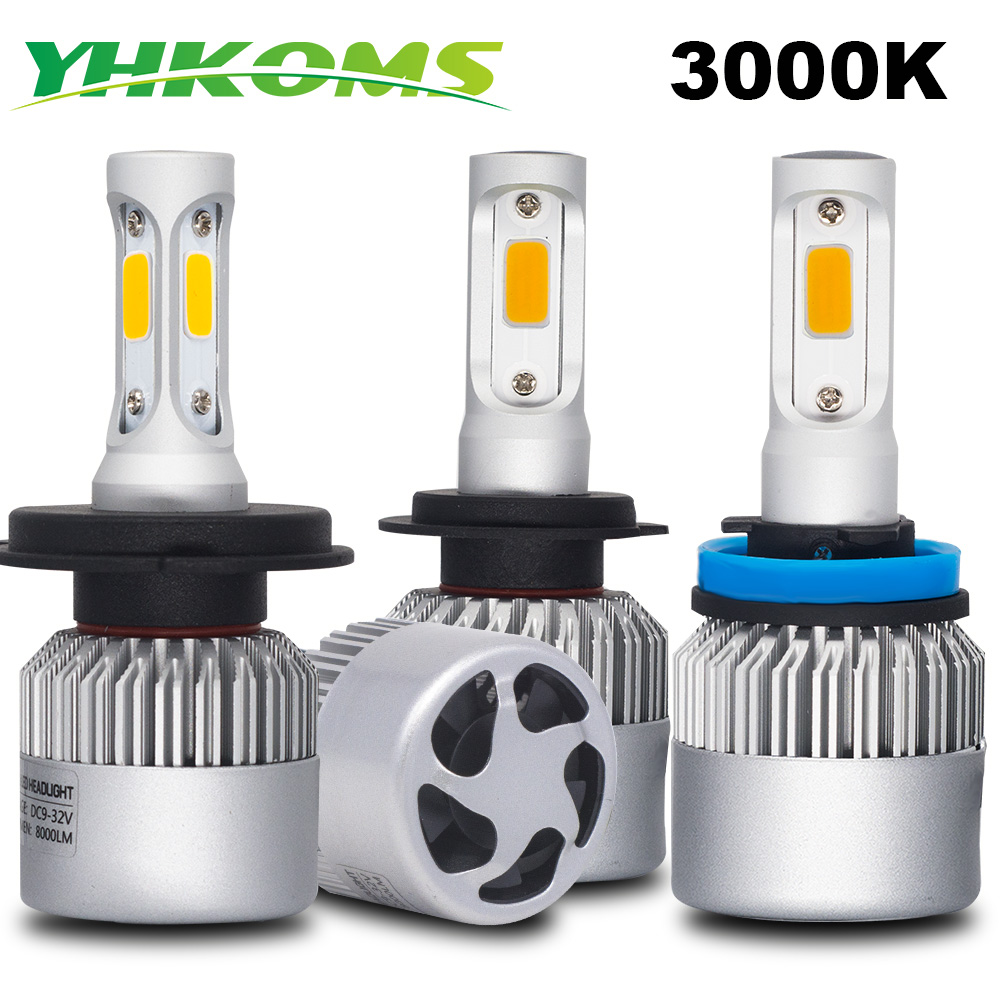 YHKOMS Car Headlight 3000K H4 H7 H11 LED Auto Fog Lighting H1 H3 9005 9006 H8 H9 880 881 H27 5202 H13 LED Bulbs Yellow Light 12V