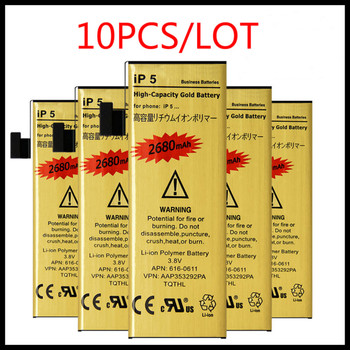10pcs/lot For iphone5 battery Zero-cycle High Capacity Golden Battery for iPhone 5 Battery