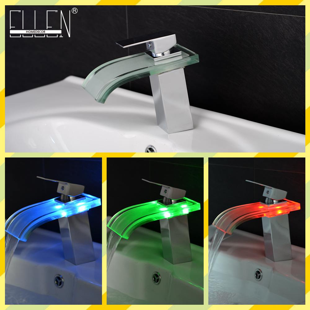 LED Bathroom Faucet Waterfall Glass Basin Sink Mixer 3 Color Temperature Control Chrome Finish led bathroom sink faucet basin mixer taps 3 color changing glass waterfall spout temperature sensor polished s 007a