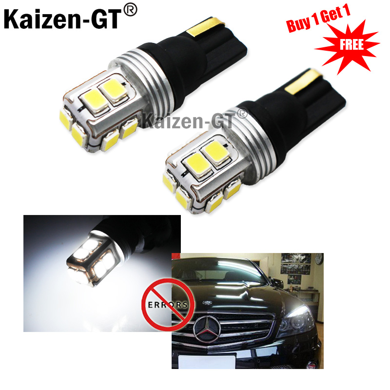 2pcs Car Styling T10 LED Canbus W5W 10 leds 3030 SMD Bulb White 12V 6000K Interior Car Signal Lights for Parking Side Lamp carprie super drop ship new 2 x canbus error free white t10 5 smd 5050 w5w 194 16 interior led bulbs mar713