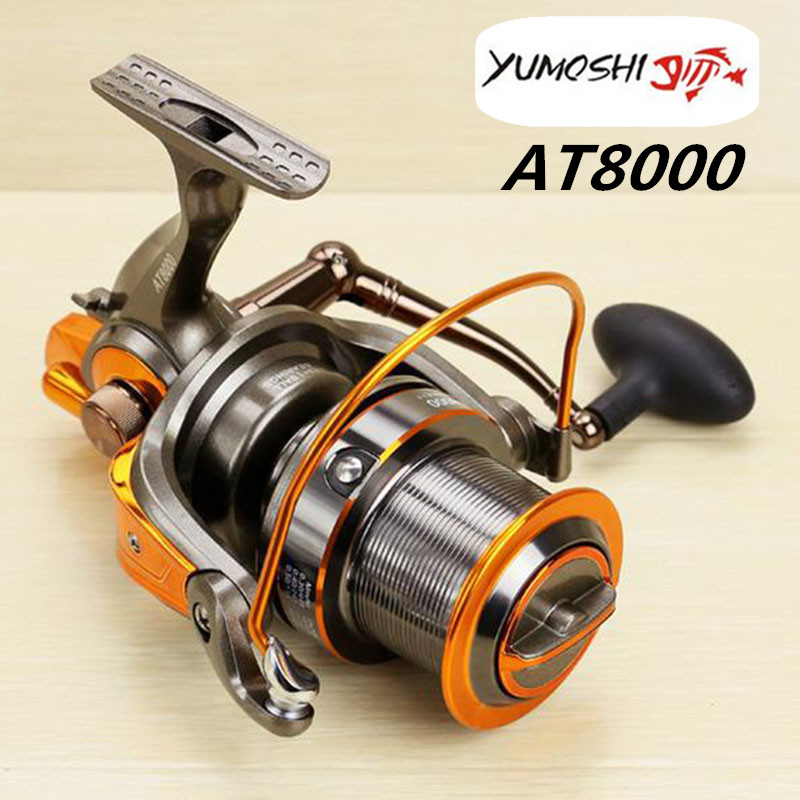 New YUMOSHI Saltwater Spinning Reel Full Metal Body 18KG Drag Boat Fishing Reel with 13+1BB 4.6:1 Gear Ratio Free Shipping plueger supreme spinning fishing reel lightweight full metal body 7 1bb 5 2 1 6 2 1 lure fishing tackle accessory spinning reel