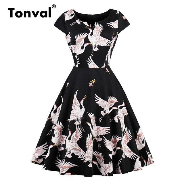 a1de3eeb484 Tonval Vintage Retro Pin up Animal Print Dress Cap Sleeve Wild Geese Women  Dresses Summer A Line Dress
