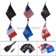 цена на Motorcycle pirate Flag Mast Kit Eagle Rear Side Mount Flag Pole Luggage Rack For Harley Touring Sportster XL883 XL1200 Road King