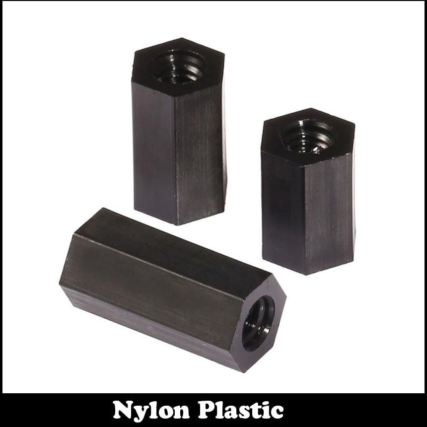 цены  20pcs M3 30mm M3*30 Dual Nut Nylon Female To Female PCB Hex Black Plastic Hexagon Stand-Off Pillar Spacer Standoff