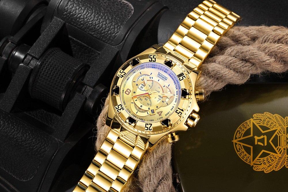 19 Top Brand Luxury Mens Oversize Watch Gold Business Steel Quartz Clock Waterproof Sport Military Chronograph Male Wristwatch 23