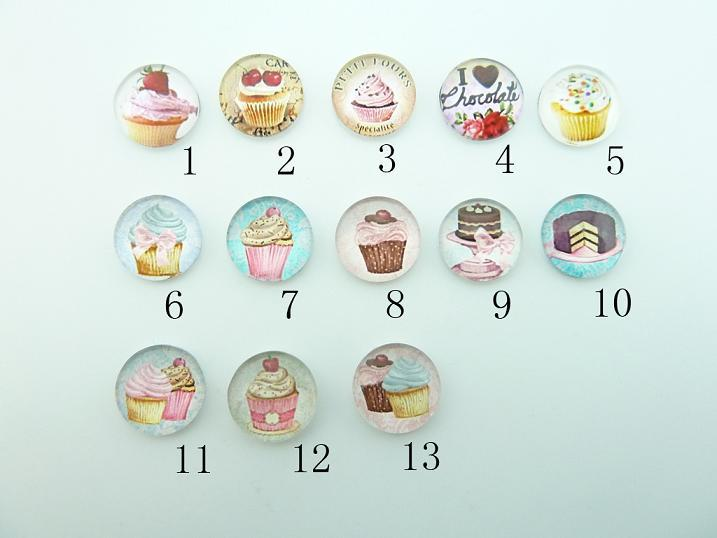 10pcs 12mm  Round Handmade Photo Glass Cabochons (Tea Party Petit Fours Small Cakes Cup Cake Cupcake )