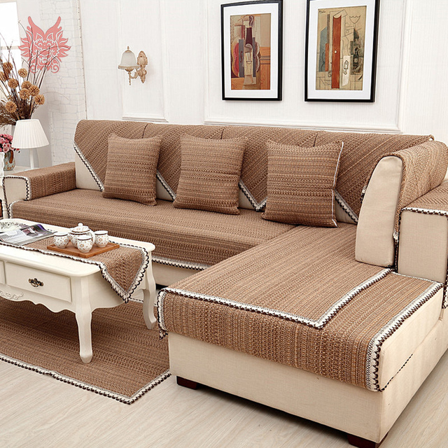 Europe style brown solid cotton linen sofa cover lace decor ...