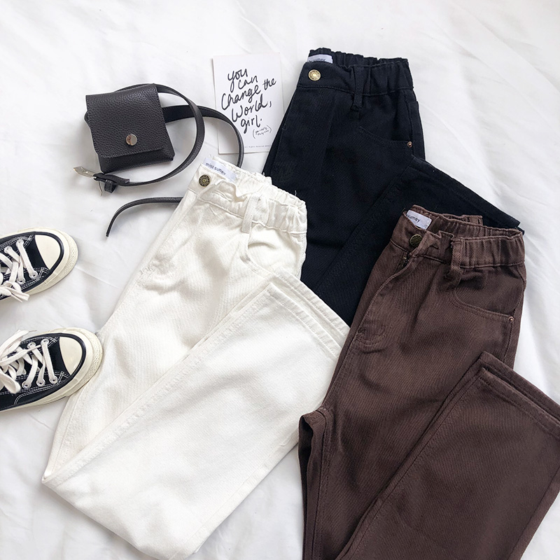 Japan Style Vintage High Waist Jeans Pants Women 100% Cotton Slim Casual Full Length Straight Denim Pants Loose Cowboy Pants