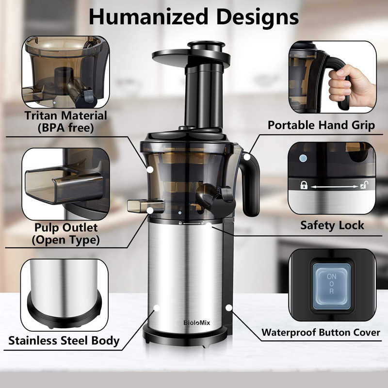 200W 40 Rpm Stainless Steel Masticating Slow Auger Juicer Jus Buah dan Sayuran Extractor Kompak Press Mesin