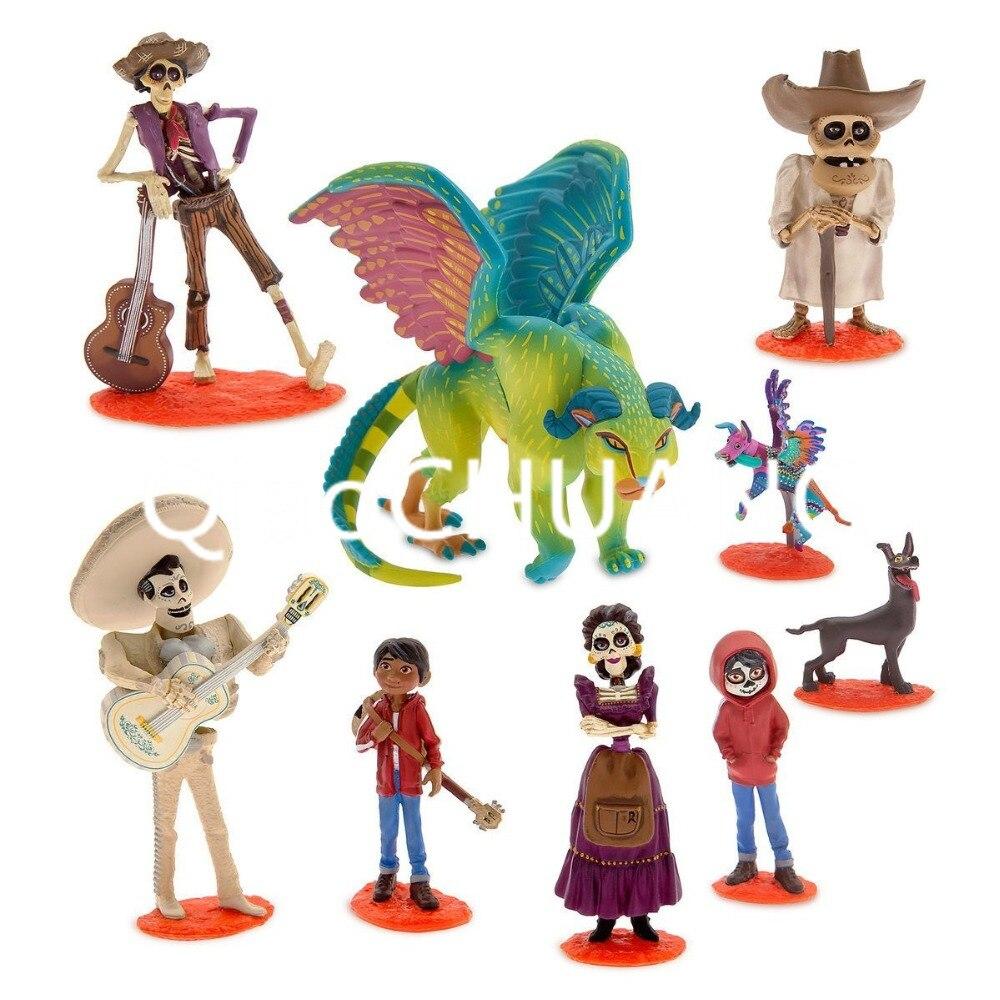 9 pçs/set Filme Coco Riveras Pixar Miguel Miguel/Ernesto de la Cruz Hector Crianças Action Figure Toy Collectible Modelo 5-10cm OPP W1